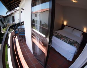 Vista da sacada do segundo quarto de casal das ilhas 3 e 5 do hotel Sete Ilhas em Jurerê.